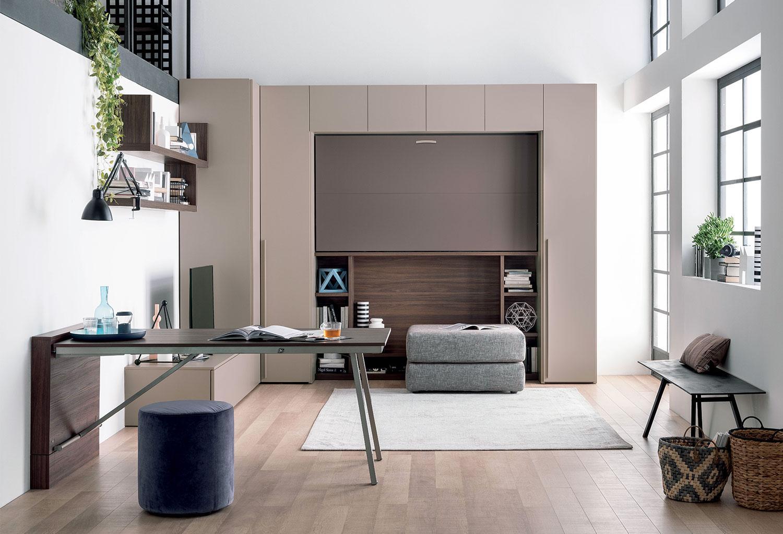 Living e camera da letto in un'unica soluzione con i mobili trasformabili Clever